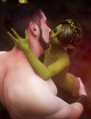 Lustful green orc with a human dick, Goblin lover